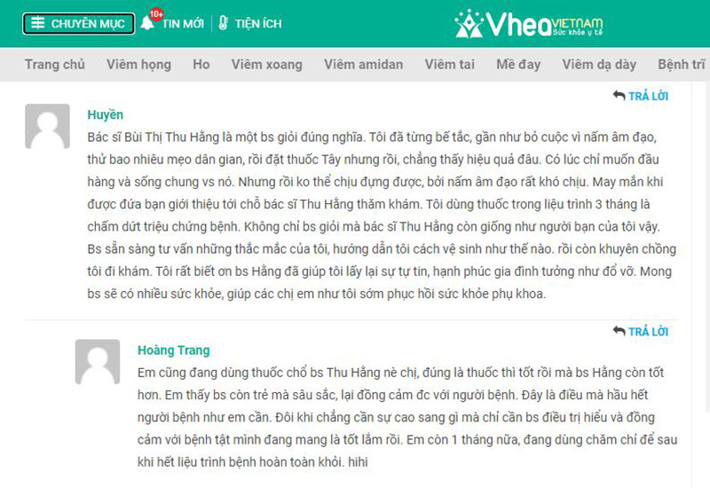 Một số phản hồi của bệnh nhân về Thầy thuốc Bùi Thị Thu Hằng