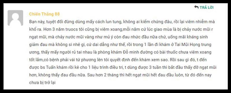 Anh Nguyễn Chiến Thắng chia sẻ về bài thuốc chữa viêm xoang dòng họ Đỗ Minh