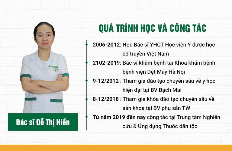 Quá trình học tập và công tác của bác sĩ Đỗ Thị Hiền