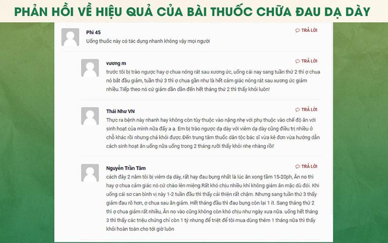 Một số phản hồi của người dùng trên các diễn đàn về Bài thuốc chữa dạ dày của Thuốc dân tộc