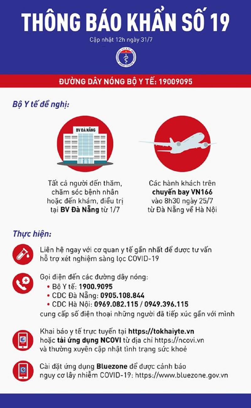 Thông báo khẩn 19 Bộ Y tế