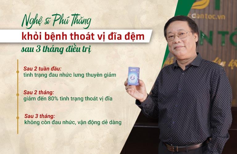 Nghệ sĩ Phú Thăng khỏi bệnh thoát vị đĩa đệm sau 3 tháng điều trị