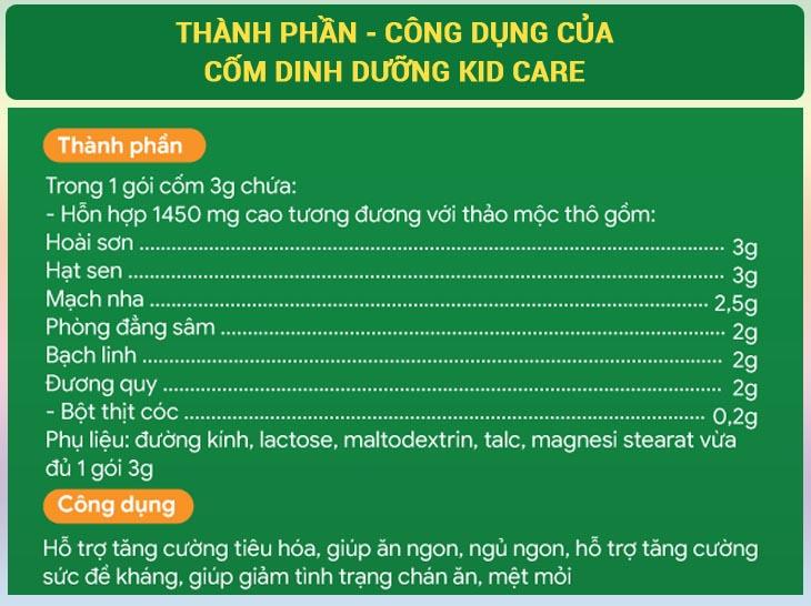 Thành phần của cốm dinh dưỡng KID CARE được chiết xuất 100% từ các thảo dược quý giá giá, bổ dưỡng