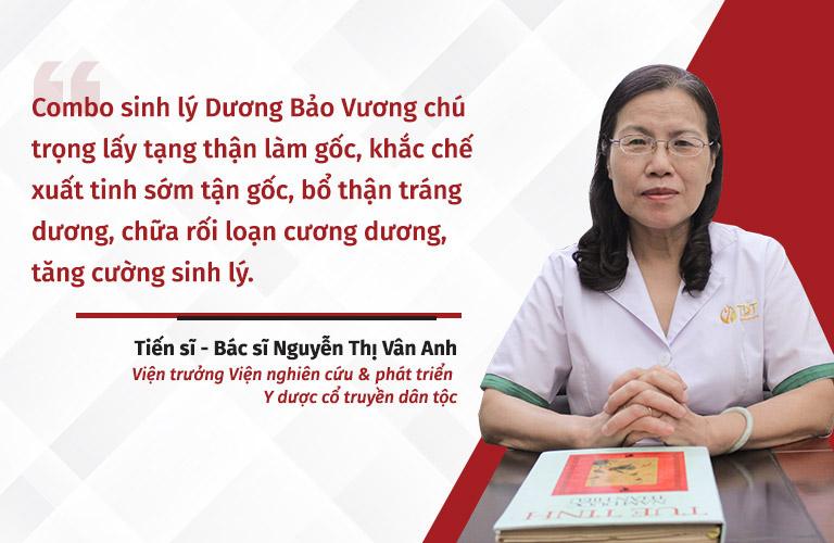 Bác sĩ Nguyễn Thị Vân Anh nhận định hiệu quả điều trị tận gốc yếu sinh lý của Dương Bảo Vương
