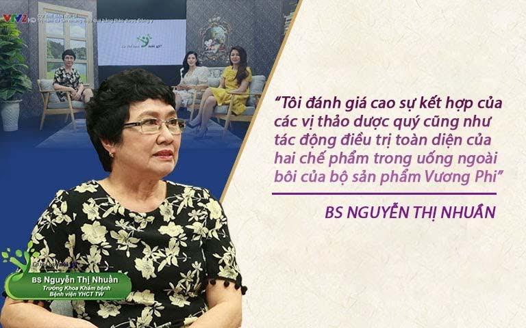 Bác sĩ Nguyễn Thị Nhuần đánh giá bộ sản phẩm Vương Phi