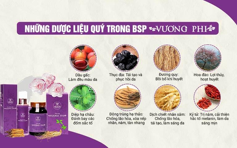 Thành phần 100% thảo dược của Bộ sản phẩm Vương Phi